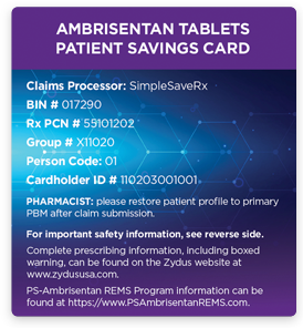 Ambrisentan Tablets Patient Savings Card
